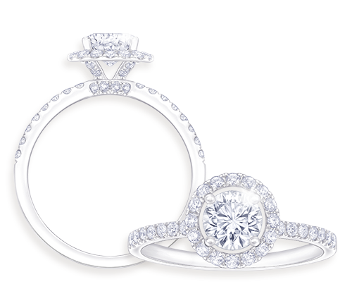 充滿意思的The Love Aura鑽戒,為你倆昇華的愛情作更好詮釋。正中心的The Leo Diamond圓鑽,飾以如光環一般的鑽石,象徵愛意時刻相守,令您們的愛情更閃、更美。