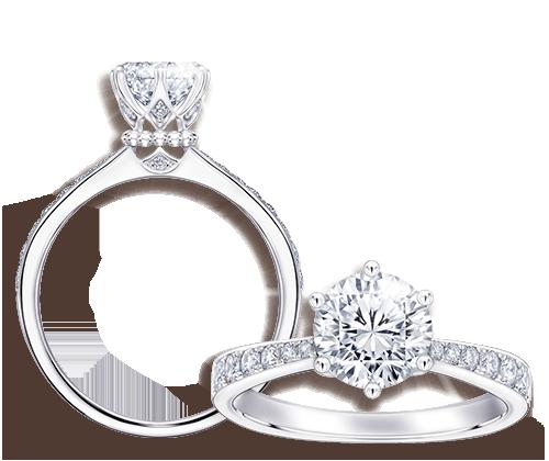 擁有專利切割的The Leo Diamond,配合經典六爪爪鑲設計,將主鑽高高托舉,完美演繹其非凡閃爍,絕對是求婚戒的首選。