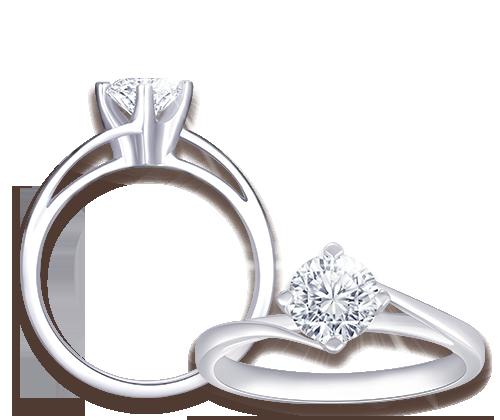經典四爪鑲設計求婚戒,配搭與其相襯的結婚戒指一同配戴締造出完美的婚嫁組合。
